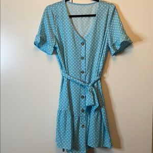 Women's Medium polka dot button down dress